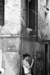 Venetian Woman Smoking, Venice, Italy, 2009