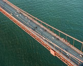 Golden Gate Bridge Traffic at Sun Rise