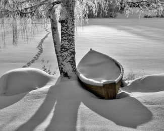 Path and Snowy Rowboat
