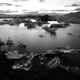 Sunset Jökulsárlón, Glacier Lagoon