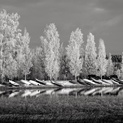 Boats and Frost in Monochrome