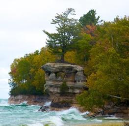 Chapel Rock in Rough Waters