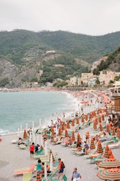 Crowded Beach in Cinque Terre