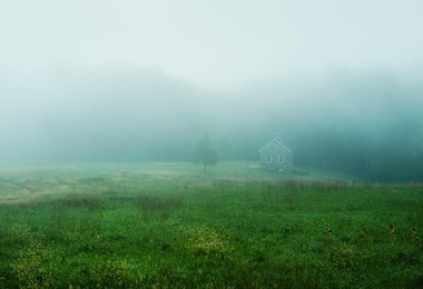 Quaint Stone Cottage in Mist.