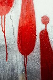 Red and Silver Graffiti Drip