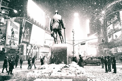 New York City - Times Square Snow - Father Duffy Square