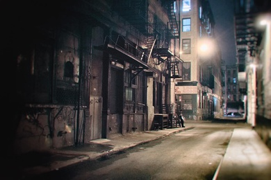 New York City - Night - Alley and Fire Escapes