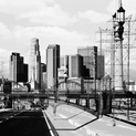 LA Skyline and Lamps BW